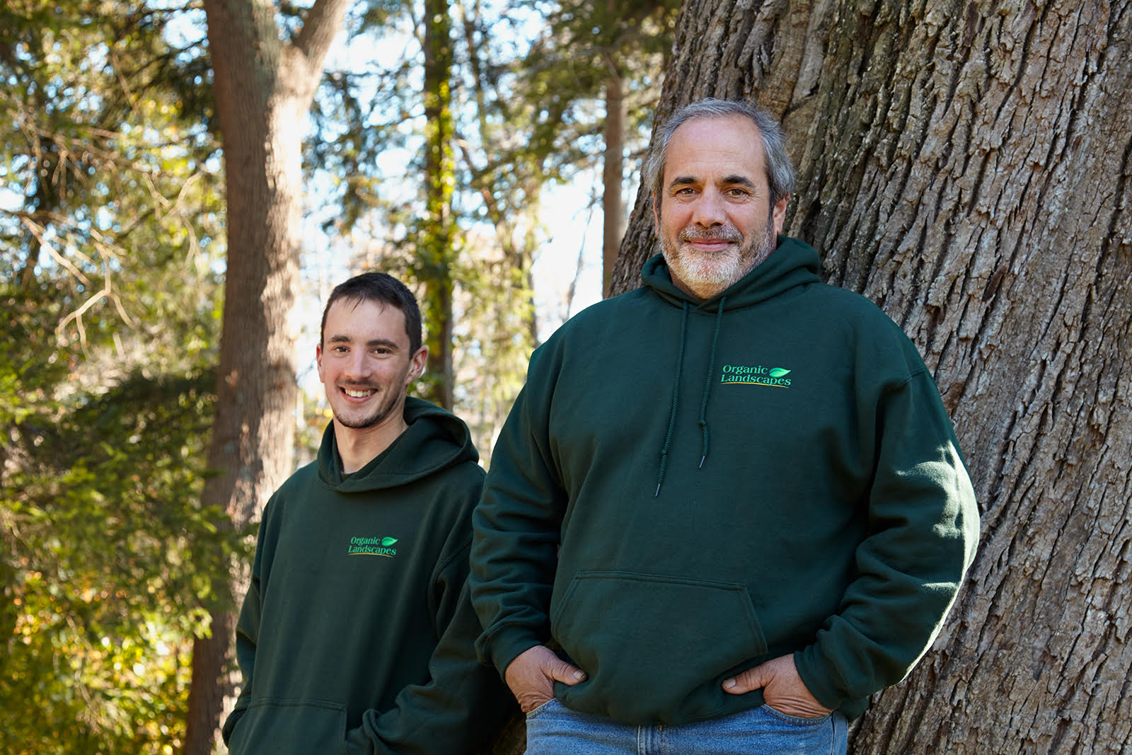peter deluca and son wearing organic landscapes sweatshirts bedford westchester county ny